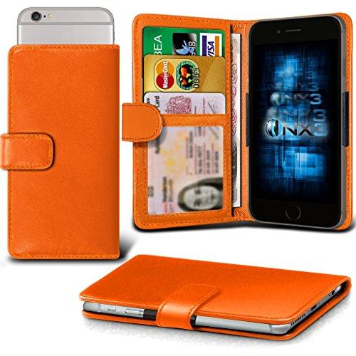 (Orange) QMobile Noir X700 Adjustable Spring Wallet ID Card Holder Case Cover (X700 Lcd)