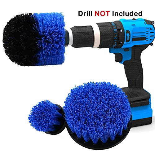 - Scrub Brush Attachment 3 Pack kit, Blue All Purpose Power Heavy Duty Stiff Bristle Cleaning Scrubbing Brushes for Bathroom Surface, Grout, Tub, Shower, Kitchen, Auto,Boat,RV (Blue)