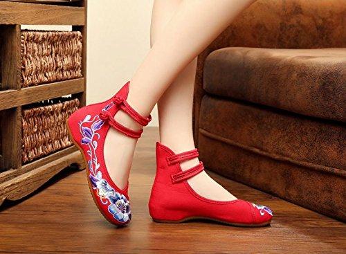 WXT Zapatos bordados de la parte inferior suave, lenguado del tendón, estilo étnico, femaleshoes, manera, zapatos de lona cómodos, ocasionales Red