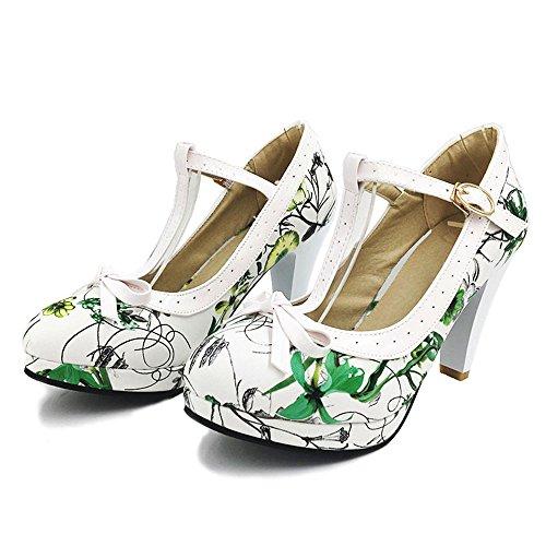 Closed Toe Pumps T Women Party Fashion Heel Shoes Green Wedding Flower High Buckle Summer KemeKiss Strap TWxqEg0nn