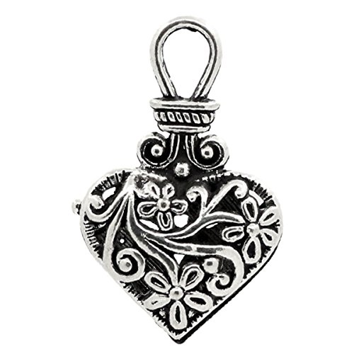 Silver Heart Hollow Charm (Housweety 10PCs Charm Pendants Flower Pattern Hollow Heart Silver Tone 1 2/8