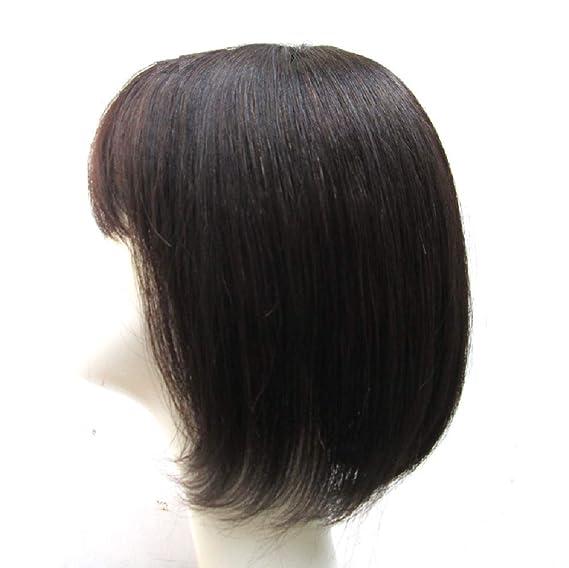 Parte superior de cabello humano de repuesto, corona de clip para el pelo con flequillo de extensión para mujeres, cubierta de pelo fino por Flat Bangs 13 x ...
