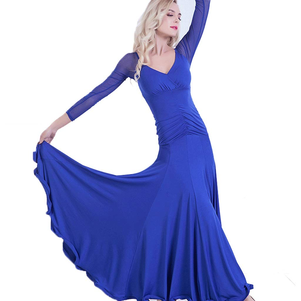 Bleu Concours De Danse De Bal des Femmes des Robes De Danse Moderne De Valse De Valse Standard à Manches Longues XL