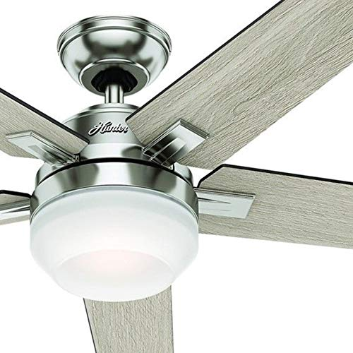 Hunter 54in Brushed Nickel Contemporary Ceiling Fan with Cased White LED Light Kit and Remote Control Renewed