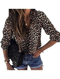 Womens V Neck Leopard Casual Print Tunic Long Sleeve Button Down Shirt Tops