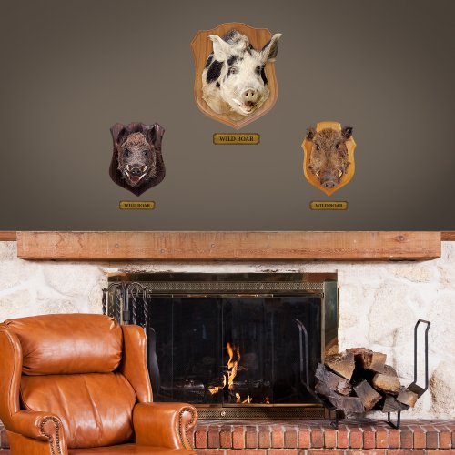 "Fathead Wall Decal, ""Generic Mounted Boar Heads Junior"""