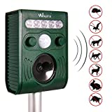 Wikomo Ultrasonic Solar Powered Pest Repeller,Waterproof Outdoor Animal Repeller with Ultrasonic Sound,LED Flashing Light and Motion Sensor for Cats, Dogs, Squirrels, Moles, Rats etc