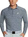 Jolt Gear, Men's Dry Fit Long Sleeve Polo Golf Shirt, Moisture Wicking, Blue XL