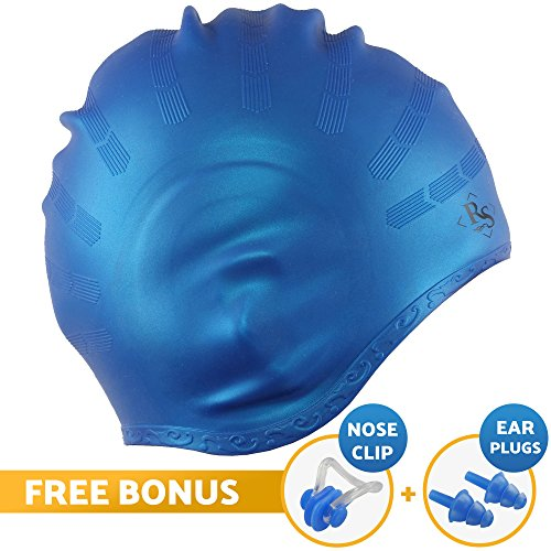 Royal Swim Cap for Long Hair - Good for Women & Men - Waterproof Premium Silicone Bathing Caps - Special Shape for Effective Ear Protection - Keeps Hair Dry - with Nose Clip & Ear Plugs