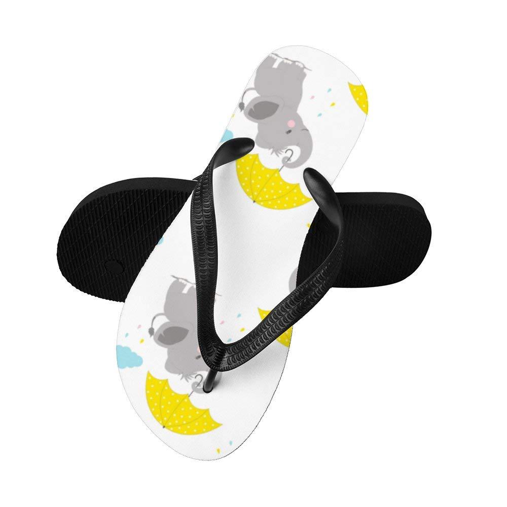 Lishiqi Cartoon Elephant Unisex Flip Flops Thong Sandals for Summer Beach Shower Rubber Sandals