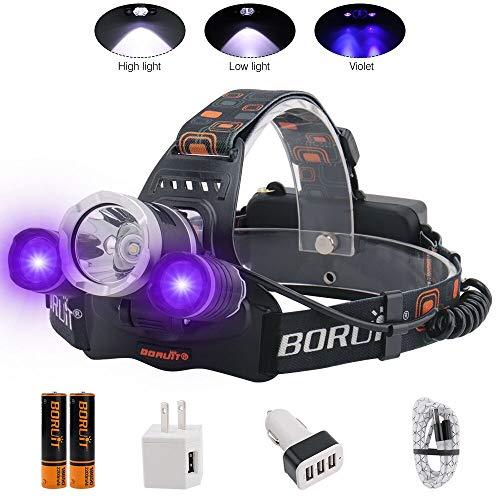 BORUIT Headlamp with Purple UV Light - Purple Ultra Violet Headlight - Glow in Dark Backlight Head Lamp -Detect Fake Money/Jewelry - Pet UV Urine & Stain Detector- Find Fluorescent Agent on Clothes
