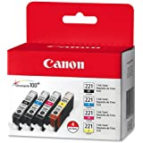 Canon 2946B004 (CLI-221) Ink, 4/Pack, Tri-Color