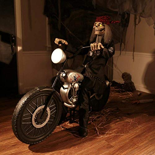 ghi Animated Biker Skeleton Reaper On Motorcycle Halloween Prop w/Fog Machine Hook -