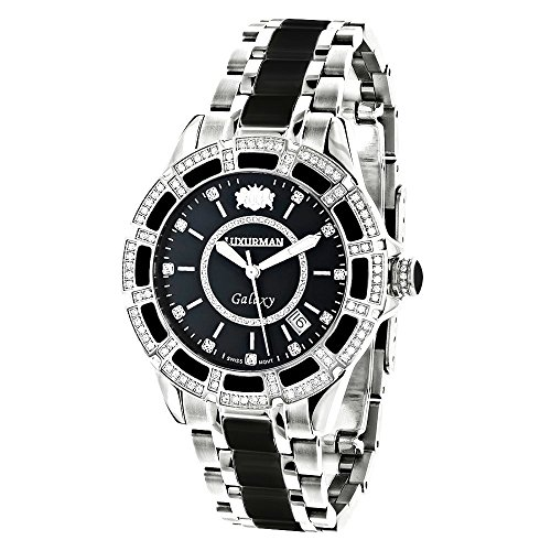 LUXURMAN Galaxy Midsize Diamond Watch for Men and Women Stainless Steel and Black Ceramic 1.25ct -  967735