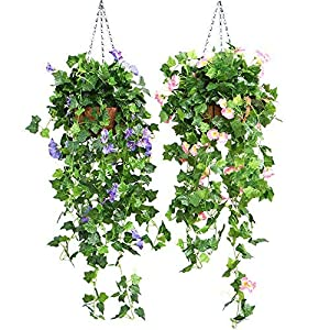 DaJun Artificial Vines, 2 Pcs Morning Glory Simulation Hanging Plants 35.43in with 1 Pcs Basket, Silk Garland Planter Bonsai for Outdoor Indoor Wedding Party Garden Wall Decoration 2