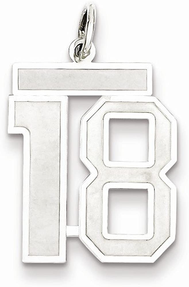 Beautiful Sterling silver 925 sterling Sterling Silver Rhodium-plated Medium Satin Number 18 Charm