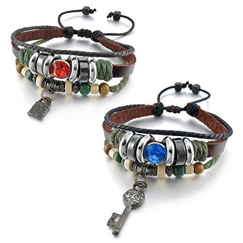 INBLUE Genuine Leather Bracelet Adjustable