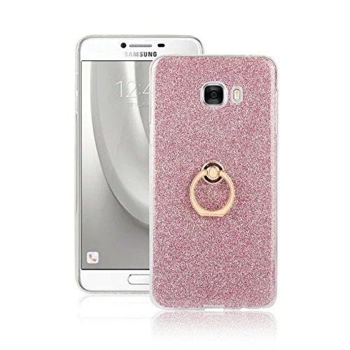 Luxury Bling Sparkle Style Case, Soft TPU [Silicone] Flexible Glitter Back Cover with Fingerring Stand [Anti Scratch] [Shockproof] for Samsung Galaxy C7 ( Color : White ) Pink