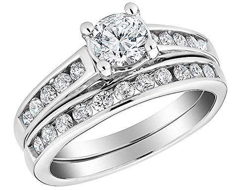 1/2 Carat Diamond Engagement Rings for Women Round Cut with a Band in 10K Solid Gold (4.5)