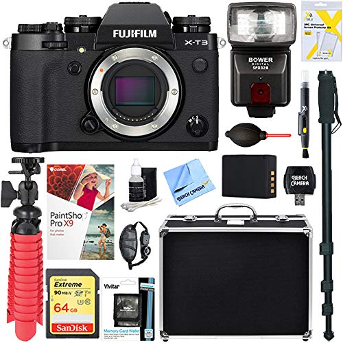 Fujifilm X-T3 26.1MP Mirrorless Digital Camera (Body Only) + 64GB Memory & Flash Accessory Bundle