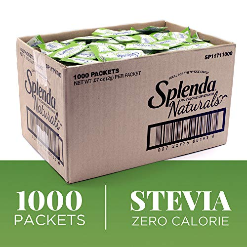 SPLENDA Naturals Stevia Sweetener: No Calorie, All Natural Sugar Substitute w/ No Bitter Aftertaste. Single Serve Granulated Packets (1000 Count)