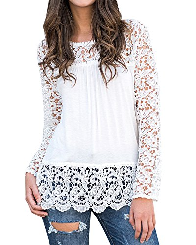 StyleDome Women's Tops Blouse T Shirt Crochet Floral Long Sleeve Round Neck Loose Tee Off White S (Top Round White Off)