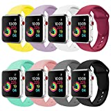 Winso Sport Band Compatible for Apple Watch 38mm 42mm, Soft Silicone Strap Replacement for Smart iWatch Bands Series 3,Series 2,Series 1 All Models (Multi-8pack, 42mm S/M)