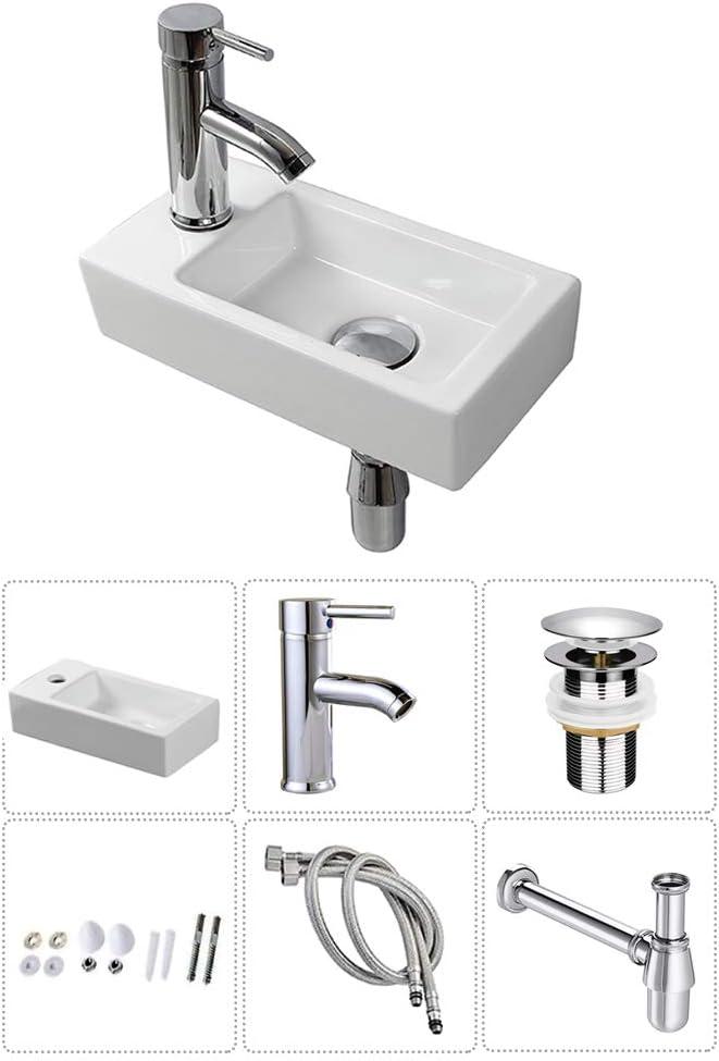 Lavabo de pared para lavabo peque/ño rectangular de cer/ámica juego de mano izquierda