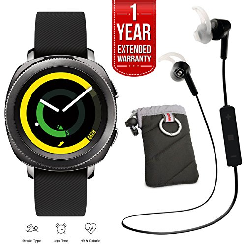 Samsung Gear Sport Activity Tracker (Black) with Heart Rate Monitor, Kodak Case, Pro Bluetooth Earbuds, and 1 Year Extended Warranty Bundle by Beach Camera