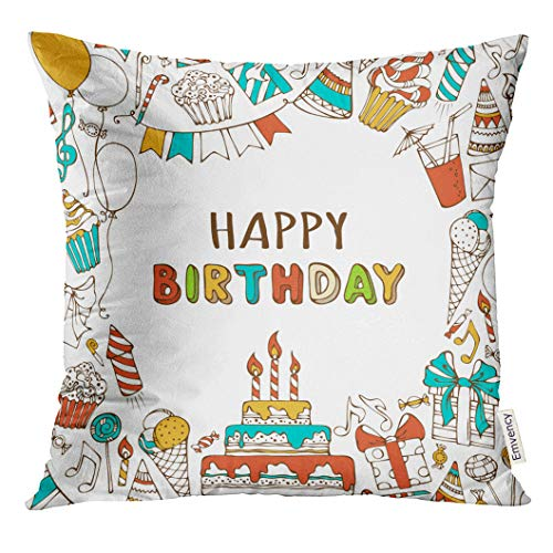 UPOOS Throw Pillow Cover Happy Birthday Sweets Party Blowouts Hats Boxes and Bows Garlands Balloons Music Notes Firework Candles Decorative Pillow Case Home Decor Square 18x18 Inches Pillowcase (Music Notes Party Hats)