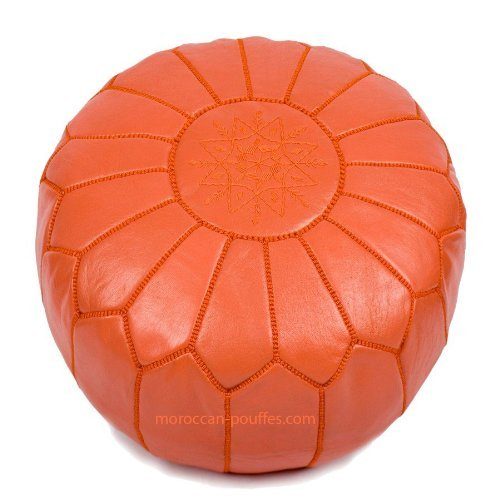 moroccan poufs leather luxury ottomans footstools orange unstuffed