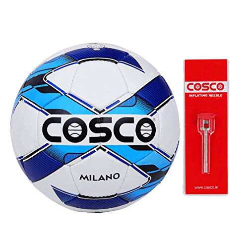Cosco Milano Foot Ball, Size 5  White/Blue/Black