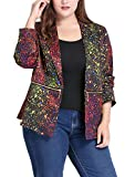 uxcell Women's Plus Size Zipper Long Sleeve Paint Splatter Printed Blazer 2X Black