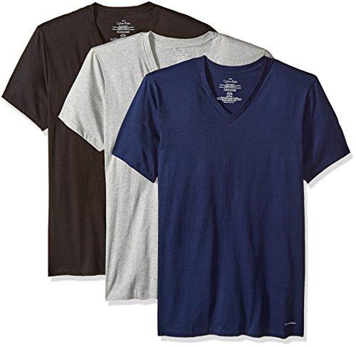 Calvin+Klein+Men%27s%2C+Undershirts%2C+3+Pack+Cotton+Short+Sleeve+V-Neck%2C+Black%2FGrey+Heather%2FBlue+Shadow%2C+Medium