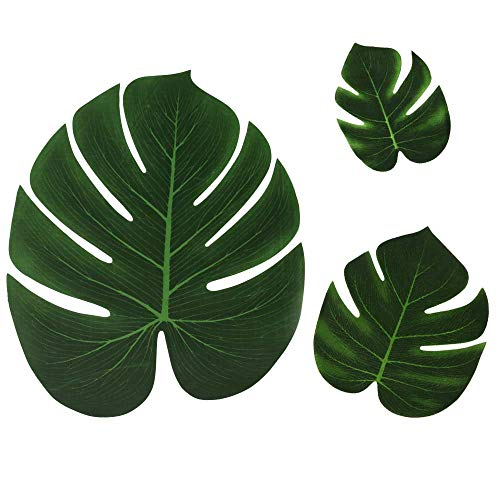 60Pcs Artificial Palm Leaves Tropical Plant Faux Leaves Hawaiian Luau Party Jungle Beach Theme BBQ Birthday Party Table Leaves Decorations (12 Small+36 Middle+12 -