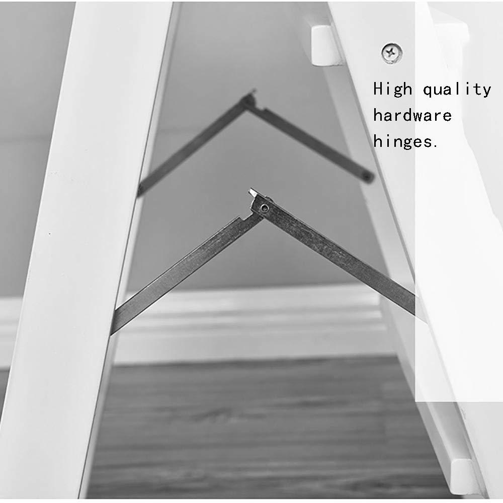 42 /× 48 /× 64cm couleur du bois Blanc Mempers Escabeau en bois massif couleur fonc/ée Peut supporter 100 kg Tabouret multifonctionnel portatif simple Petite /échelle pliable