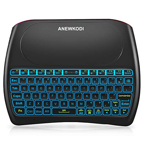 ANEWKODI Wireless Mini Keyboard with Mouse Combination Touchpad, 2019 New Upgraded Rechargeable Multimedia Handheld Remote Control D8 Keyboard for Android TV,PC,Xbox,PS4,Smart TV,Pad
