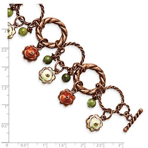Jewelry Pot Copper-tone Orange & Ivory Enamel, Green Beads 7in Bracelet