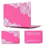 Batianda(TM) Lace MacBook AIR 13-inch Rubberized Hard Case for MacBook Air 13.3'' (A1466 & A1369) (NEWEST VERSION) Shell Cover (Rose)