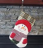 "19"" Long 3D Happy Plush Snowman Christmas Stockings"