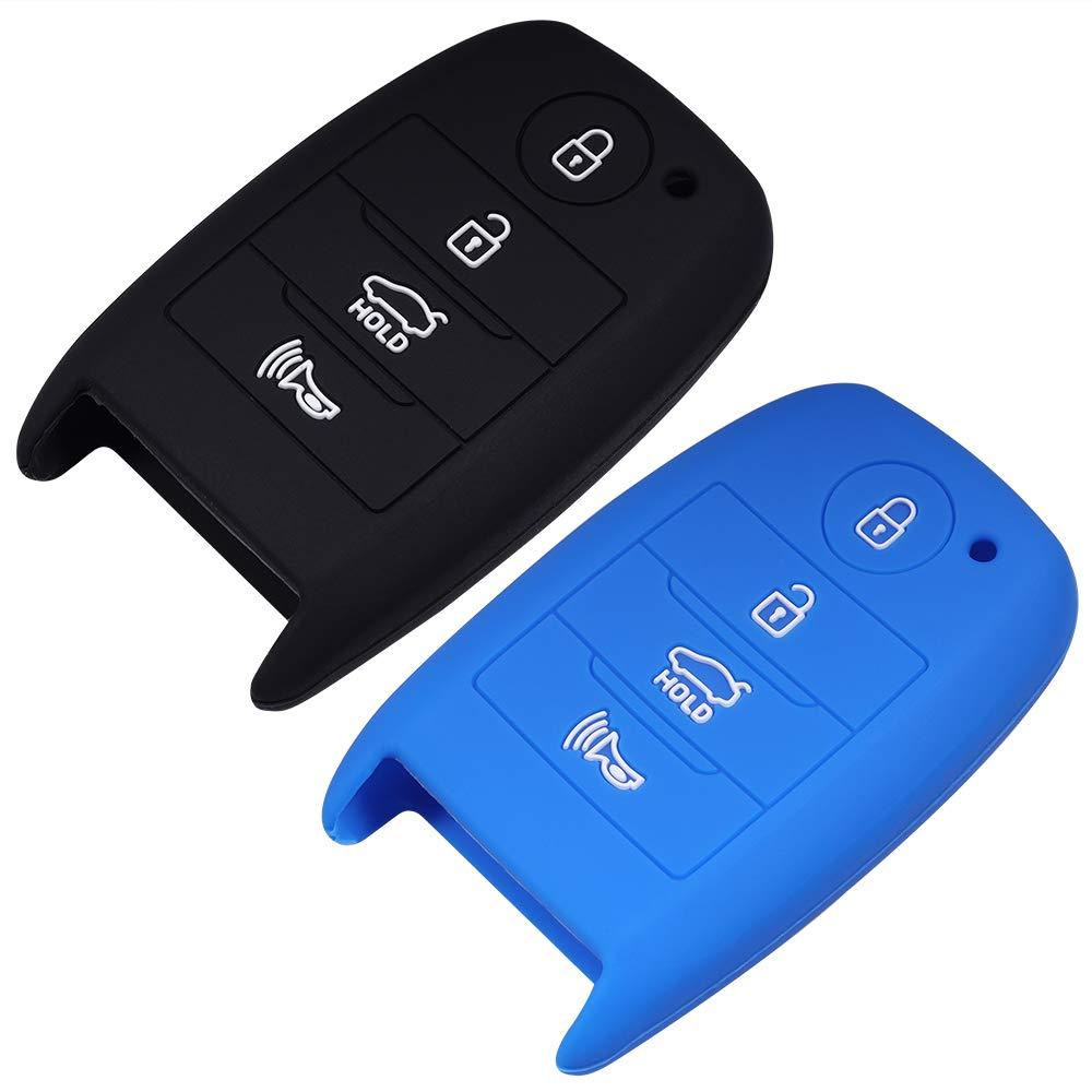 Black Red Lcyam Kia Silicone Remote Key Fob Cover Smooth Soft Rubber Case 4 Button for Kia Sorent Niro Optima Sportage Forte Seltos