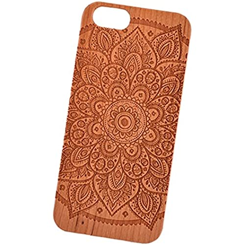 Mandala Big Sun Flower Engraved Cherry Wood Cover for iPhone and Samsung phones - Samsung Galaxy s7 Sales