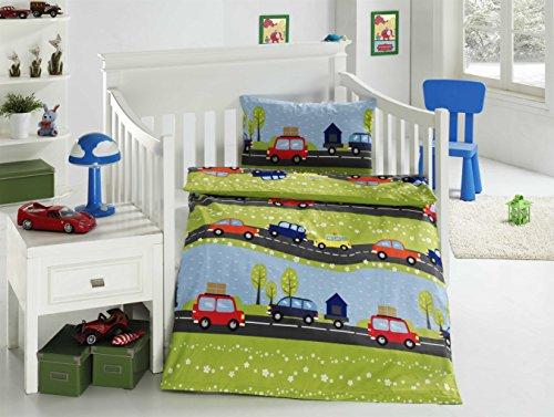 Aminata Kids Bunte Jungen Kinder Bettwäsche 100x135 Auto