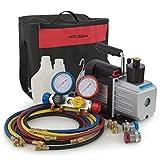 ARKSEN 4 Way A/C Manifold Gauge Adapter R410 R22 R134a R407C & (5CFM) Vaccum Pump w/ Carrying Bag Tote