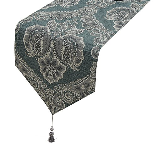 Lovein Table Runner Christmas Decorative Blue Floral Pattern Luxury Polyester Embroidery Fabric Tablerunner for Kitchen Dinning(13x79-Inch) (Dining Long Table Extra Seats 10)