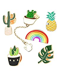 Cute Enamel Lapel Pin Set - 6pcs Cartoon Brooch Pin Badges for Clothes Bags Backpacks - Rainbow Cactus Succulent Leaves Pineapple …