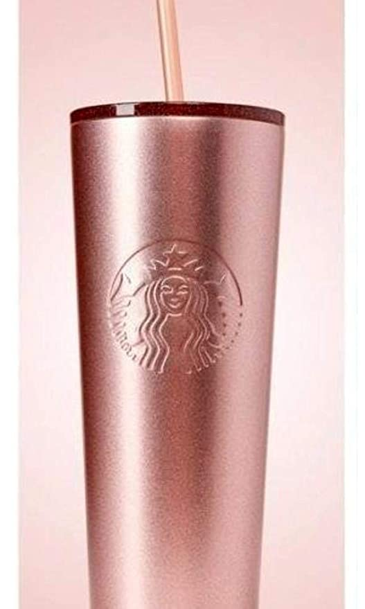 Starbucks Christmas Cups 2019.Starbucks Holiday 2018 Sparkling Rose Gold Stainless Steel Cold Cup Tumbler 24oz