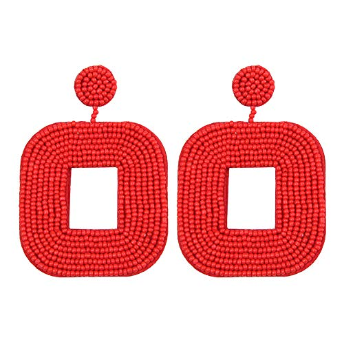 YOUTH UNION Beaded Drop Earrings Square Handmade Wire Wrapped Bohemian Double-Sided Beaded Statement Hoop Dangle stud Earrings for Women (square red) ()