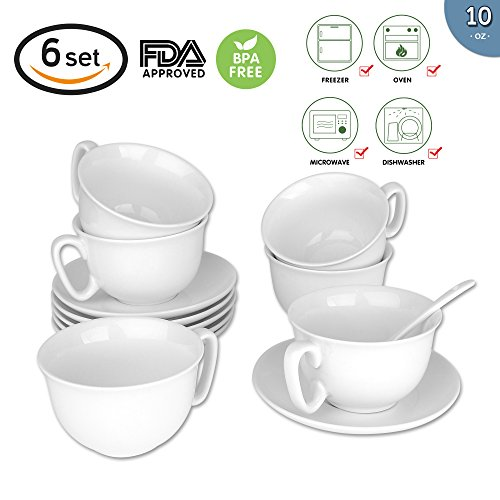 280ml/10 oz. Espresso Cups and Saucers Set with Handle Tea Cup(Include Ceramic spoon) and Saucer Fine Durable Porlecain White sets of 6 Cup Saucer Cafe