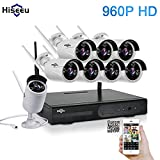 Hiseeu Wireless CCTV System 960P 8ch Powerful Wireless 1080P NVR , 8PCS 1.3Megapixel Wireless Weatherproof Bullet IP Cameras,Plug and Play,P2P,App,Home Security System